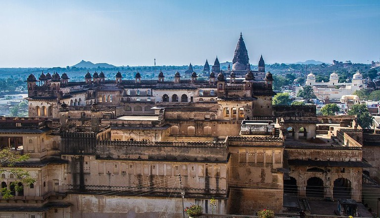View of Jahangir Mahal with Ram Raja Temple in the background at Orchha