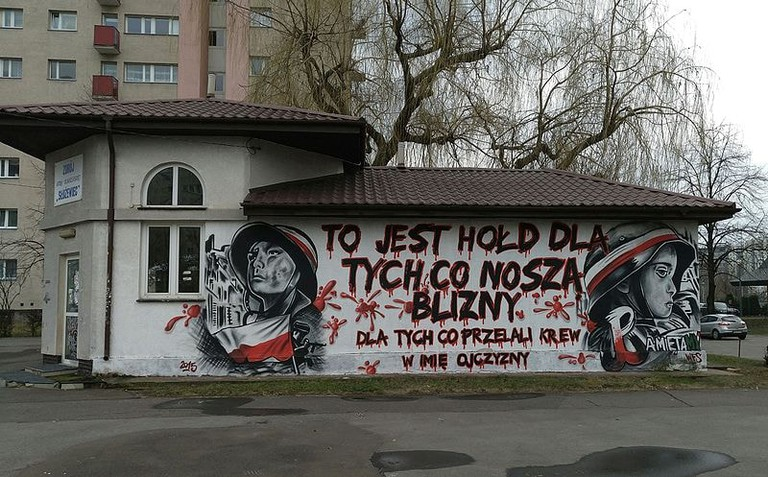 Blood mural in Warsaw