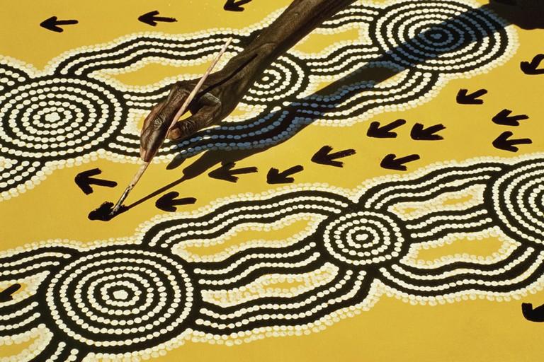 Mandatory Credit: Photo by Mint Images/REX/Shutterstock (3585483a) Aboriginal artist at work, Central Desert, Australia