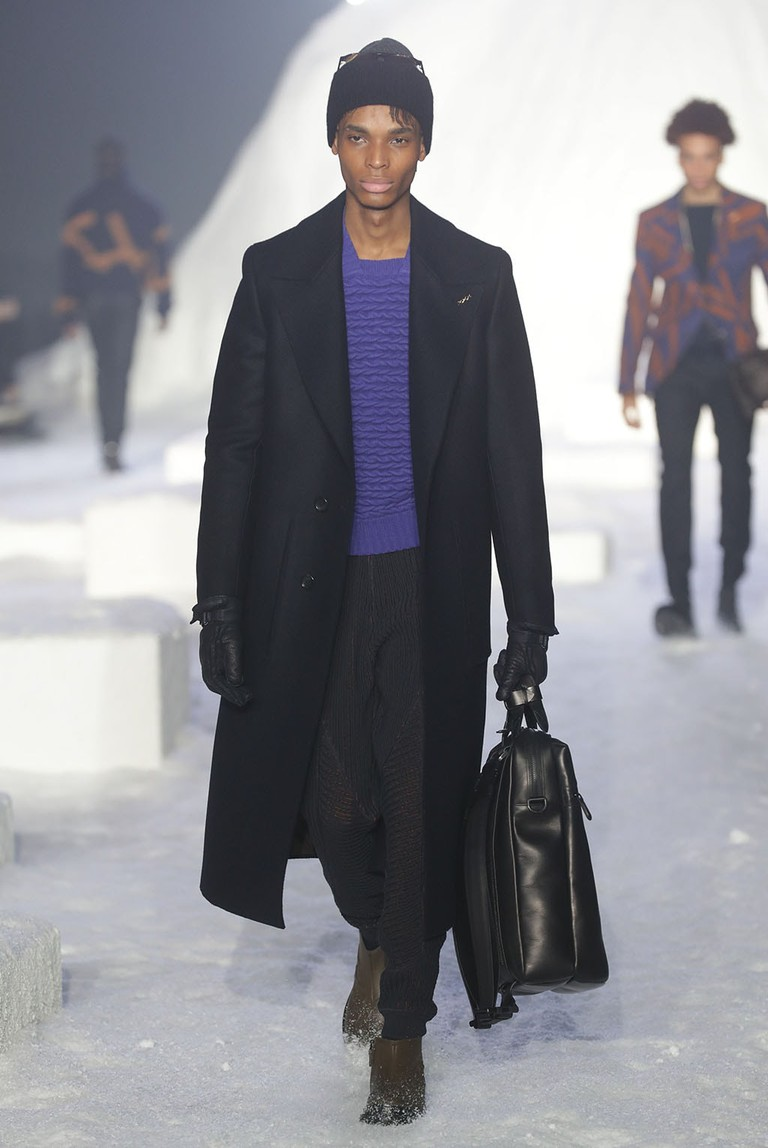 Mandatory Credit: Photo by Canio Romaniello/Soevermedia/REX/Shutterstock (9318821bh) Model on the catwalk Ermenegildo Zegna Fashion show, MFW Mens, AW 2018-19, Milan, Italy - 12 Jan 2018