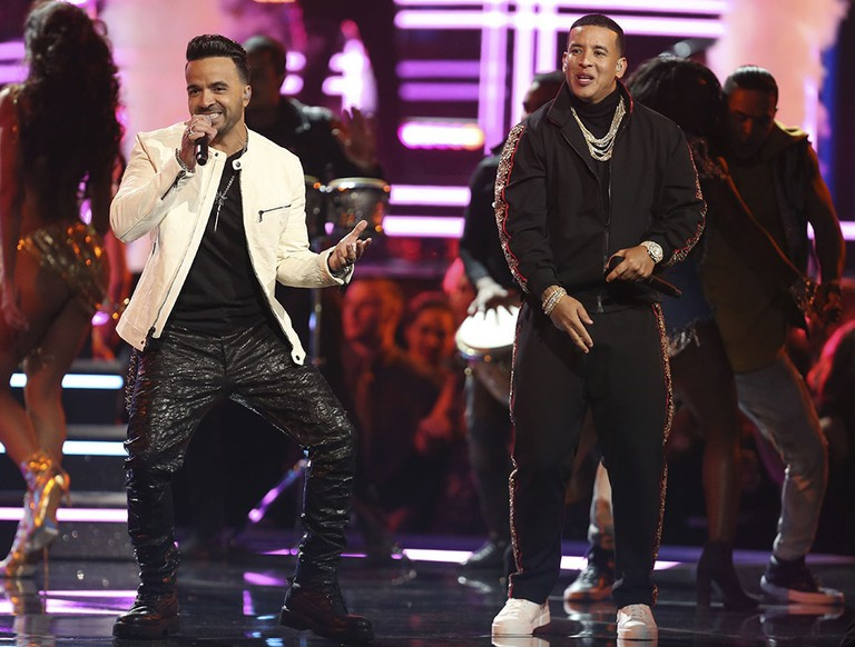 "Luis Fonsi and Daddy Yankee perform ""Despacito"" at the 60th annual Grammy Awards"