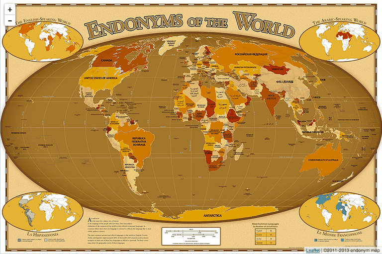A map showing the endonyms of the world