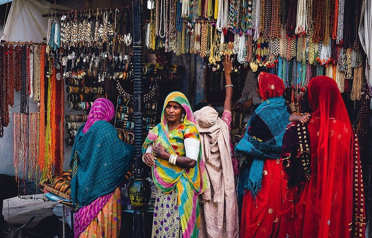 Colourful market in Pushkar