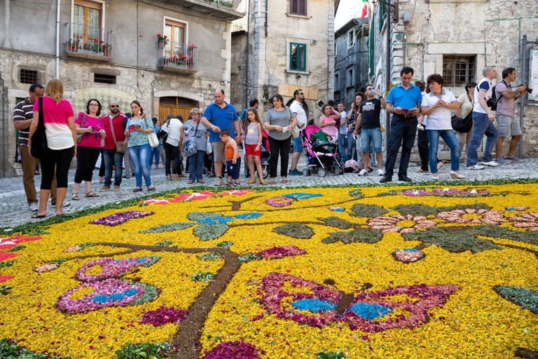 The famous floral decorations made to Corpus Christi in Cusano Mutri, Campania, Italy