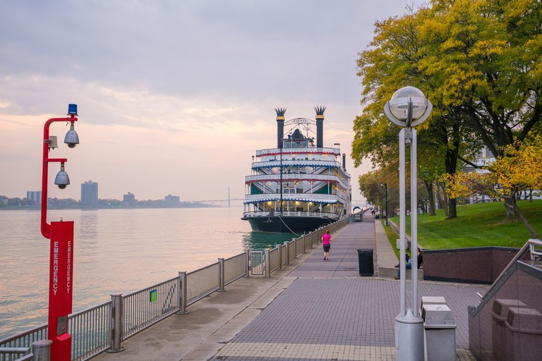 View of downtown Detroit riverfront in Michigan, USA