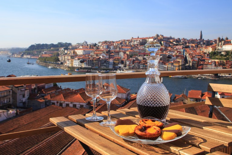 Table with view over the river in Porto, Portugal