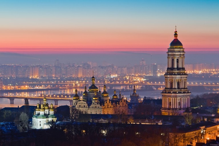 Aerial view at sunrise of the Kiev-Pechersk Lavra