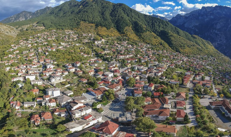 Aerial view of Konitsa town. Tymfi Mount, Zagori, Epirus, Greece, Europe