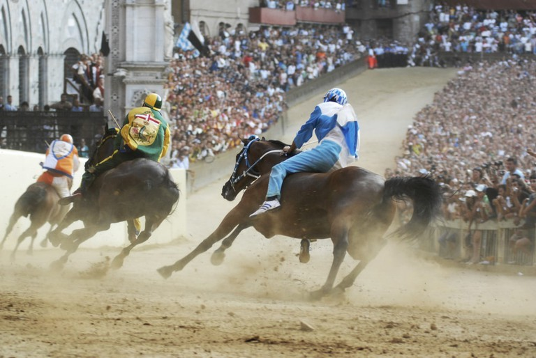 The Palio di Siena is held twice each year in Piazza del Campo, Siena
