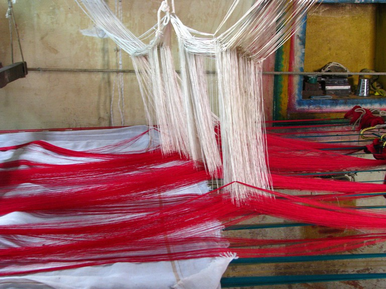 A silk-weaving loom in Kanchipuram