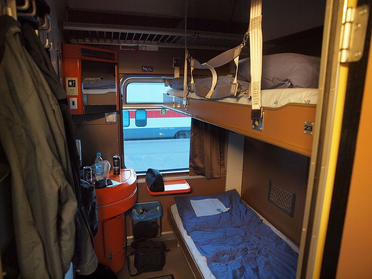 Sleeper cabin on a Finnish train