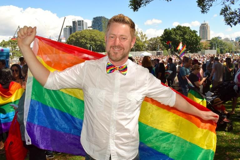 Stephen Lee celebrates at Sydney's Prince Alfred Park | Courtesy of Stephen Lee