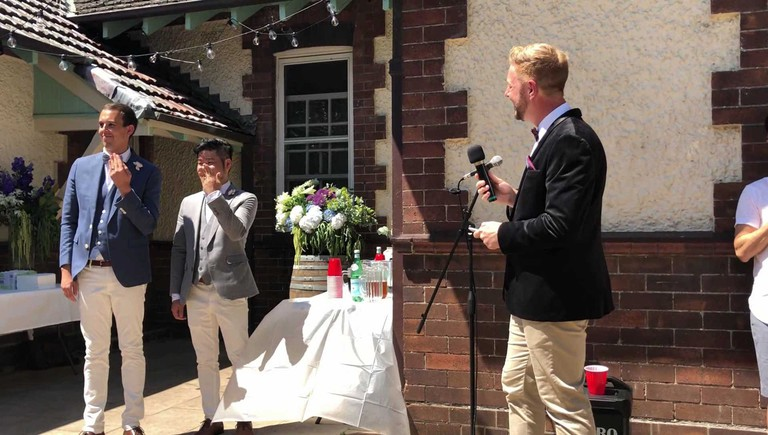 Stephen Lee performs the first legal male same-sex wedding in Australia