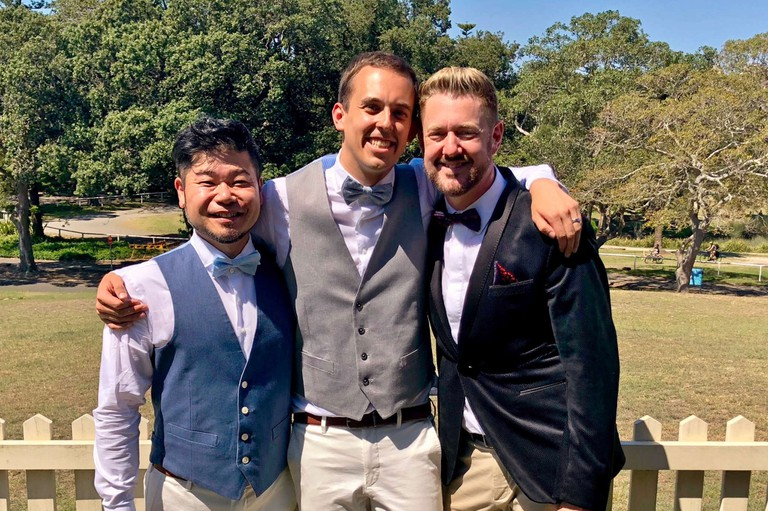 Stephen with Ben and Yoshi | Courtesy of Stephen Lee