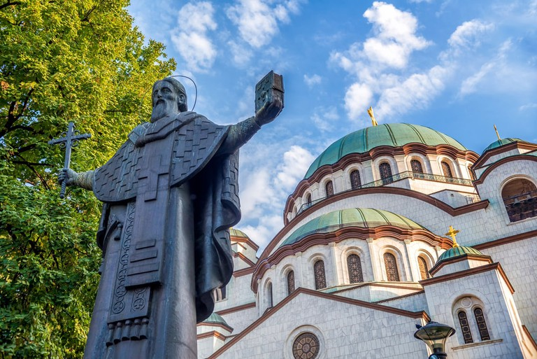 The Church of Saint Sava photobombing the man himself