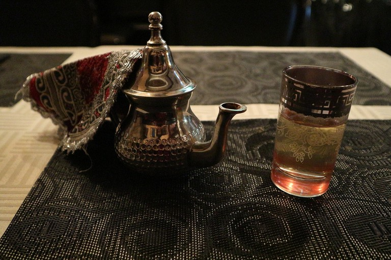 A glass of Moroccan tea