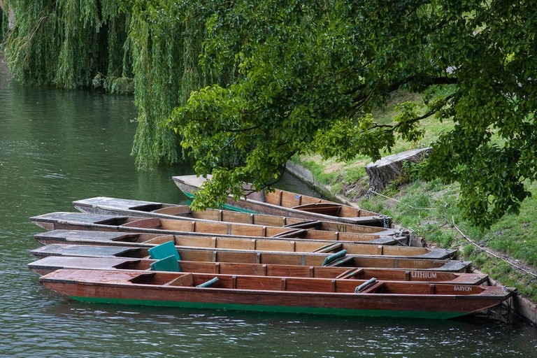 Punts in waiting, River Cam, Cambridge