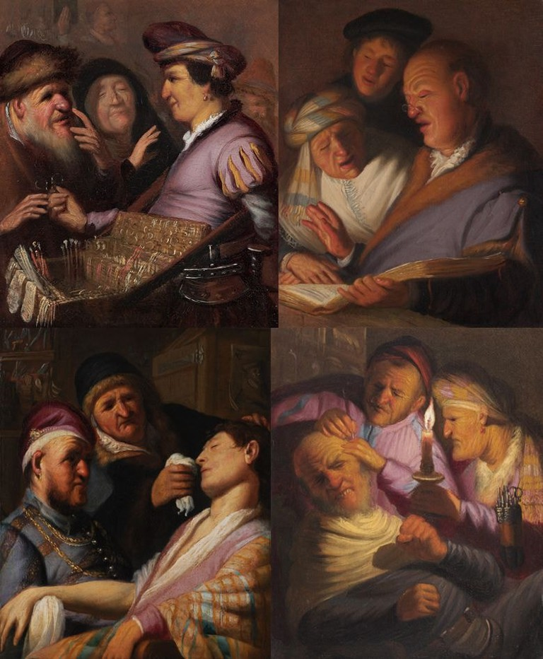 Four of the five paintings in the Senses series