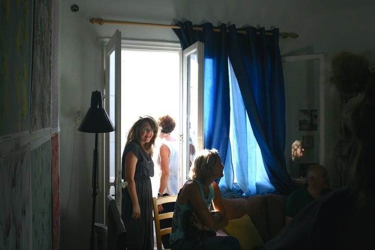 Vladimirsky (standing) in her studio, Tel Aviv