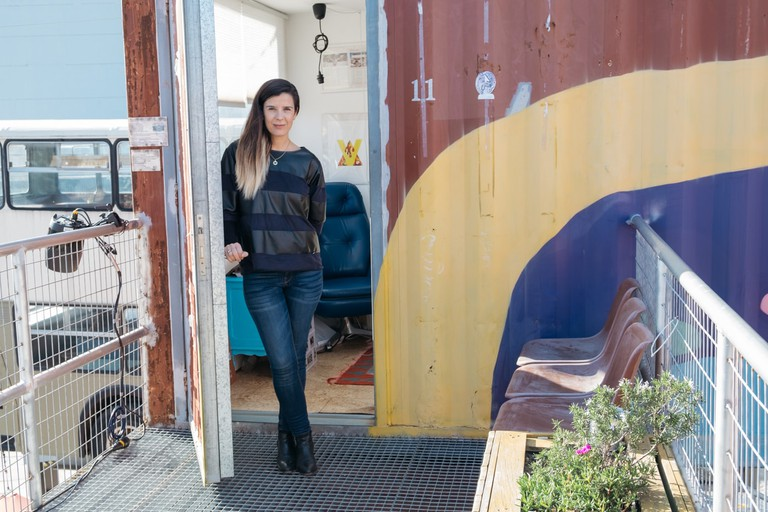 WATSON - LISBON, PORTUGAL - MARIANA DUARTE SILVA, FOUNDER OF VILLAGE UNDERGROUND, OUTSIDE HER OFFICE CONTAINER