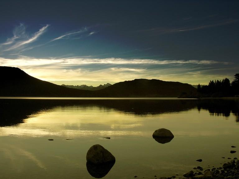 Sunset over the lake from Villa La Angostura