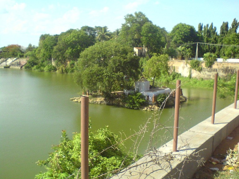 View of the Sivagangai Poonga boating lake and temple