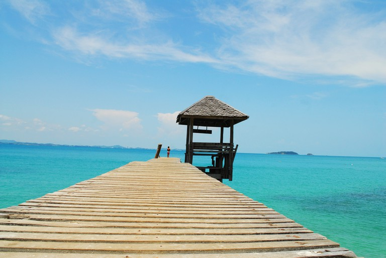 Wooden jetty over the sea at Koh Samet