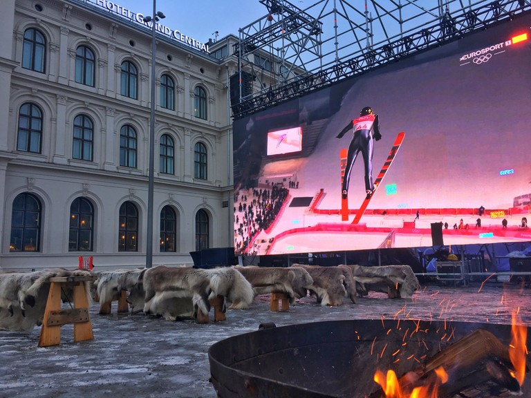 The big screen outside Oslo Sentralstasjon, set for the Winter Olympics