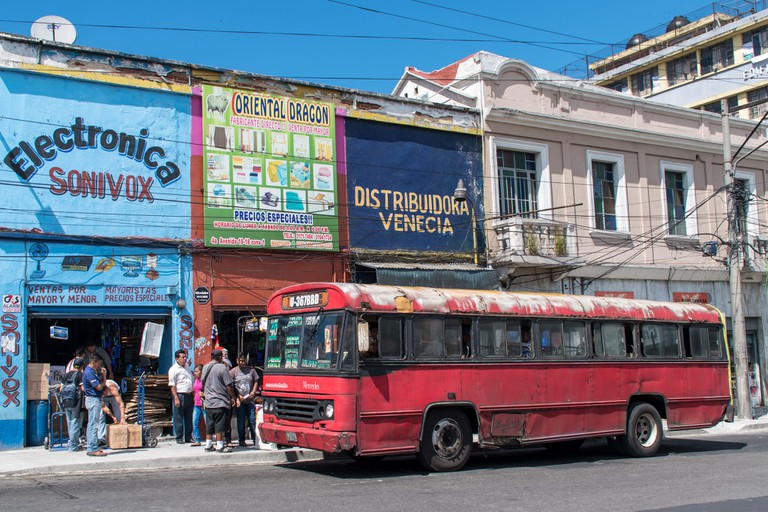 Red bus in Guatemala City