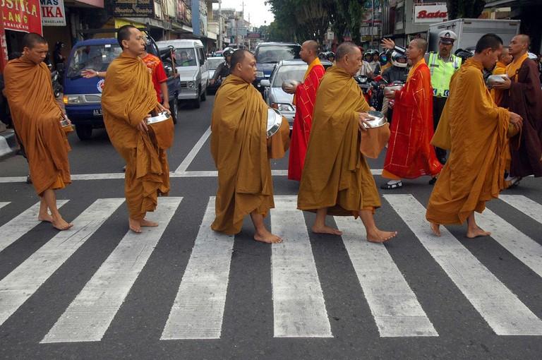 Monks doing Pindapatta before Vessak Day in Indonesia
