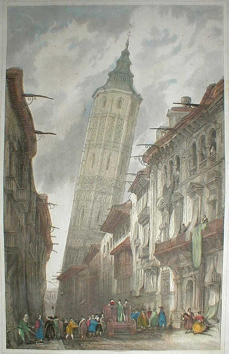 Leaning Tower of Zaragoza by David Roberts (1838)