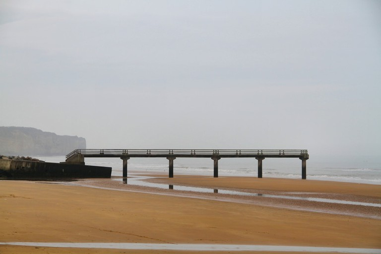 The remains of the dock at Omaha beach, one of the D-Day landing beaches