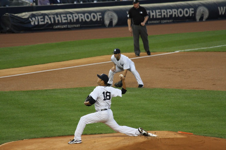 Kuroda pitching for the Yankees in 2012