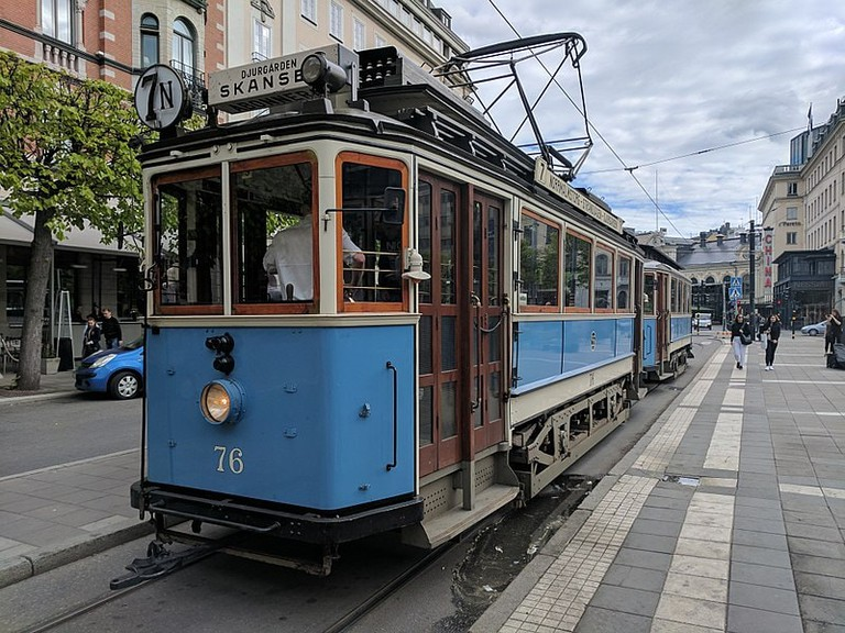 The trams are of various different ages and types