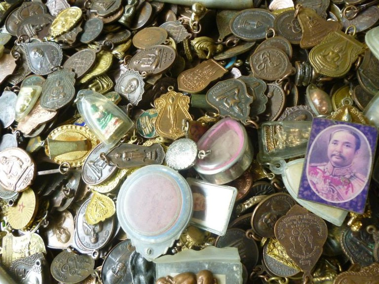 Amulets and talismans galore at an amulet market in Thailand