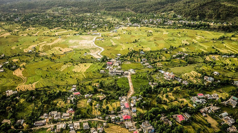 An aerial view of Bir, the Paragliding Capital of India