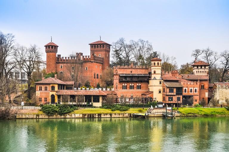 Borgo Medievale, a 19th-century mock medieval village on the River Po, Turin