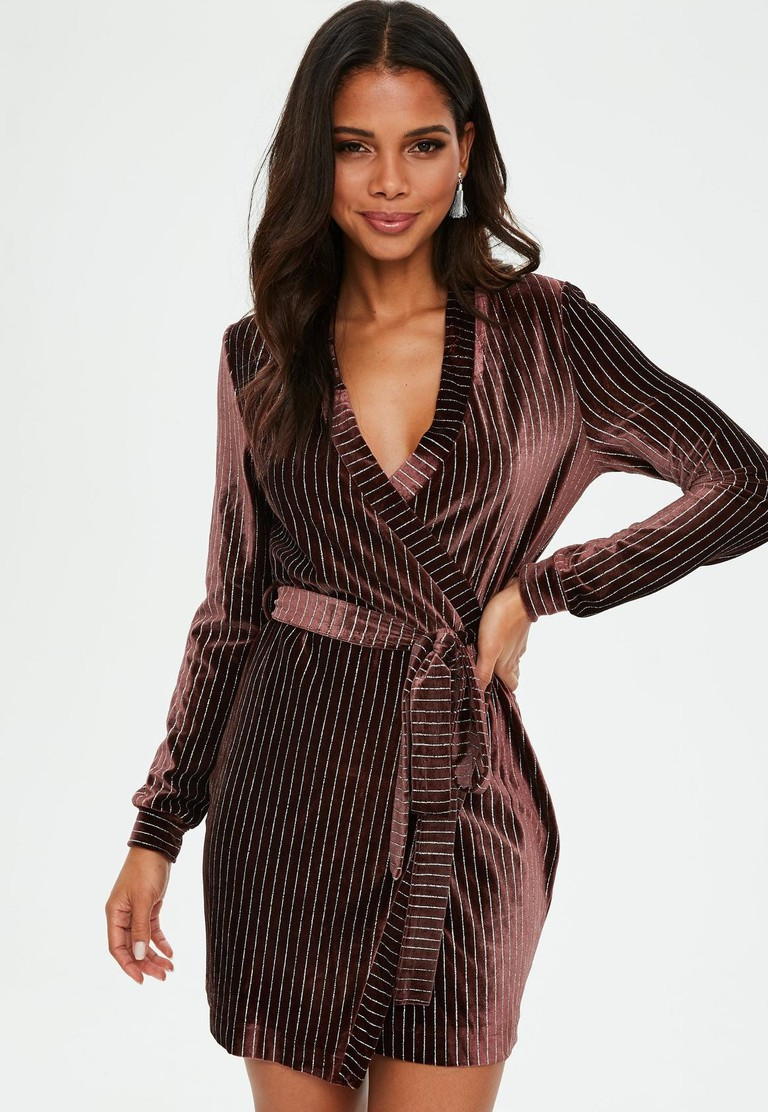 burgundy-velvet-pinstripe-belted-wrap-shift-dress