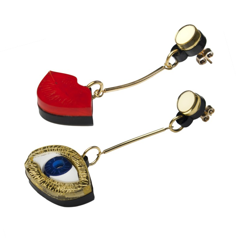 Dot Lips Eyes earrings DETAIL HQ