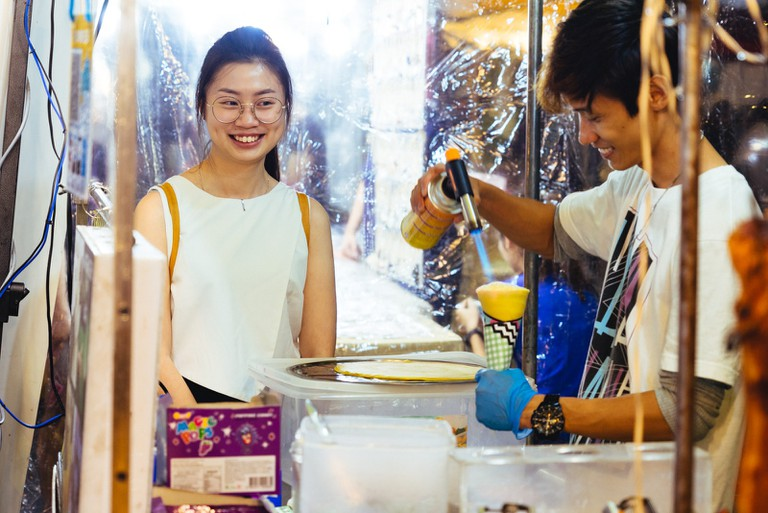 Some would specifically come to taste the unique food that's only available in this night market