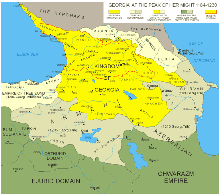 The Kingdom of Georgia during the reign of King Tamar