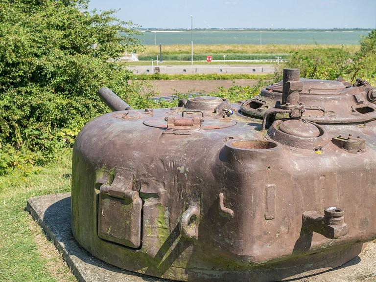 Geschutskoepel_van_een_Sherman_tank_in_het_Kazematten_museum
