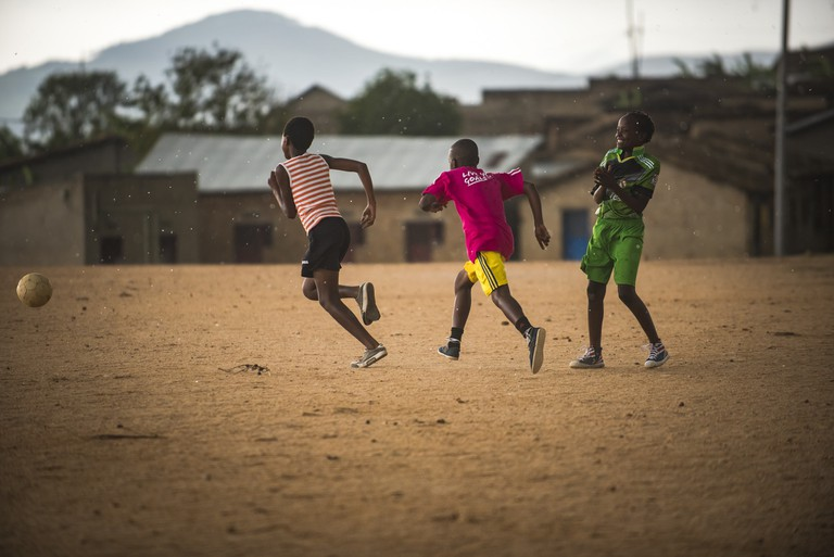 Rwandan girls playing soccer | Courtesy of Herve Irankunda