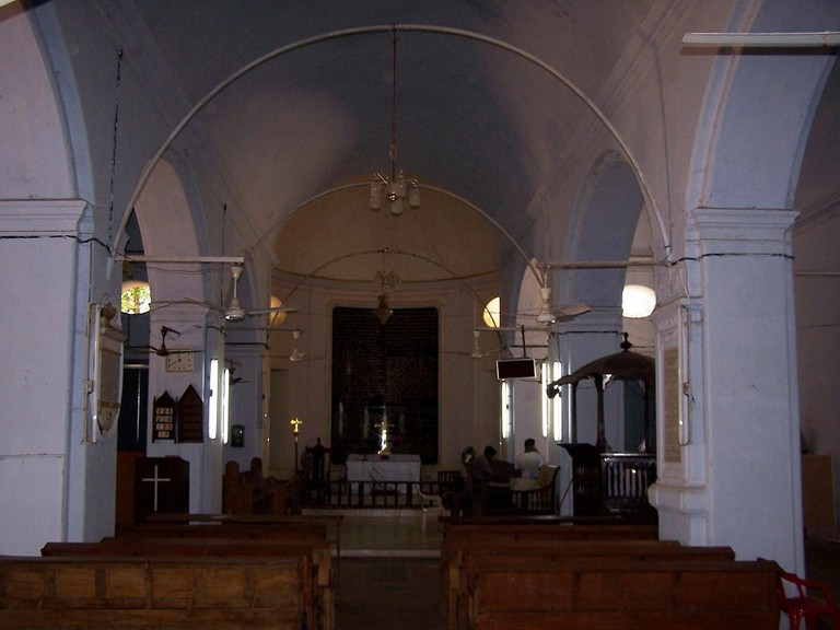View of the interior and altar of Schwartz Church in Tanjore, India