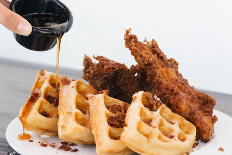 Chicken and waffles at Kush