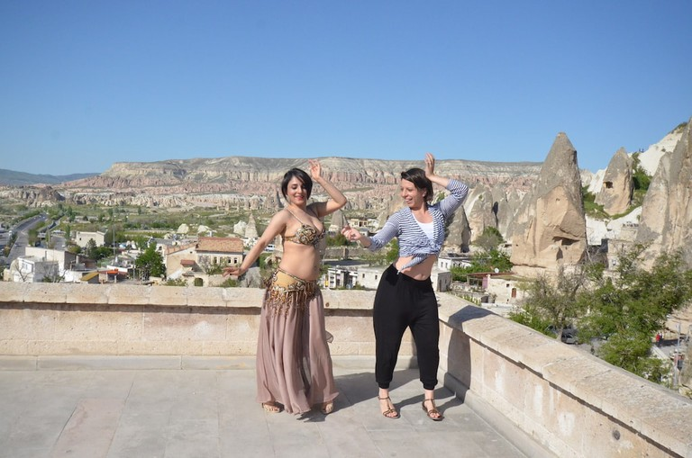 Mickela Mallozzi learns Belly Dance with Ydm in Capadoccia, Turkey - photo by Lina Plioplyte