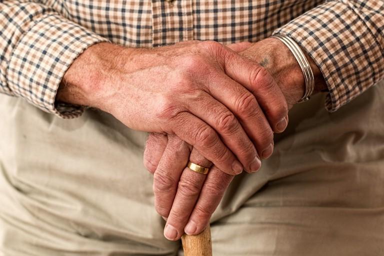 Old Person Walking Stick Hands Elderly Cane