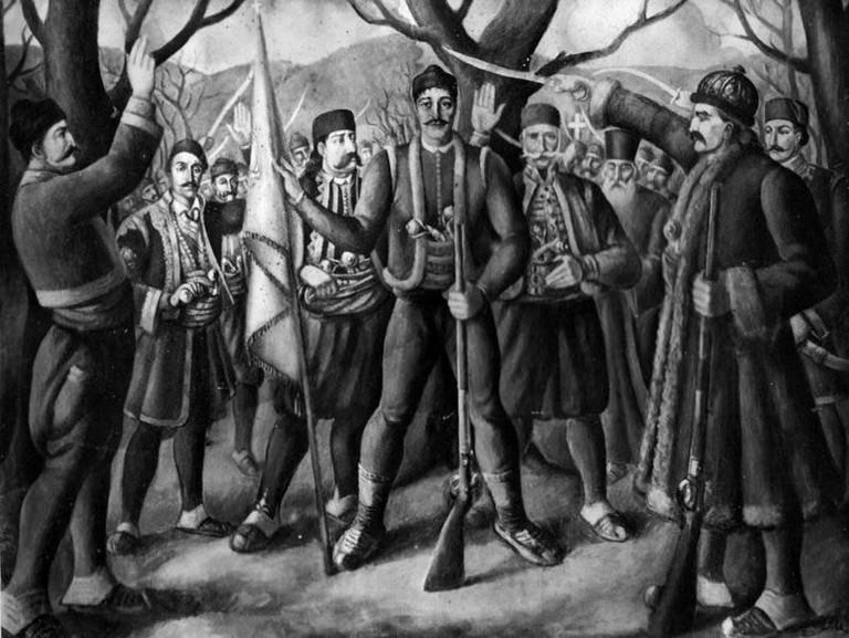 Karadjordje leads his men at the Orašac Assembly in 1804