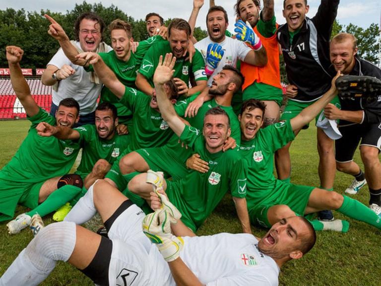 Padania celebrating their CONIFA Euro 2015 win.