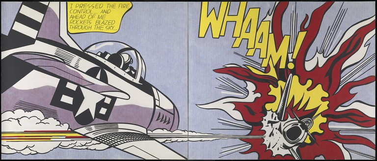 Roy Lichtenstein's painting Whaam! in a cartoon style of an aeroplane exploding into red flames